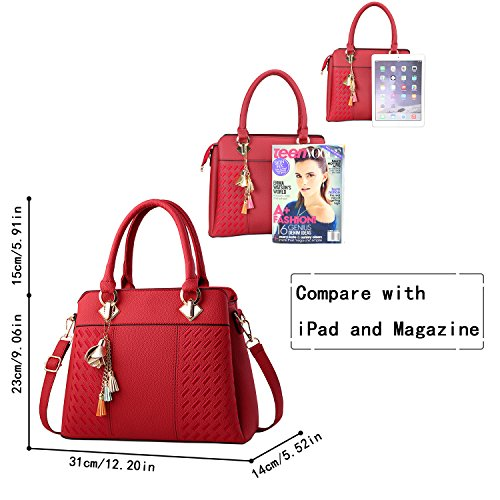 Tote Womens Red Fashion Purses and Handbags Handle Bags Satchel PU Top Leather Z0r1Z7