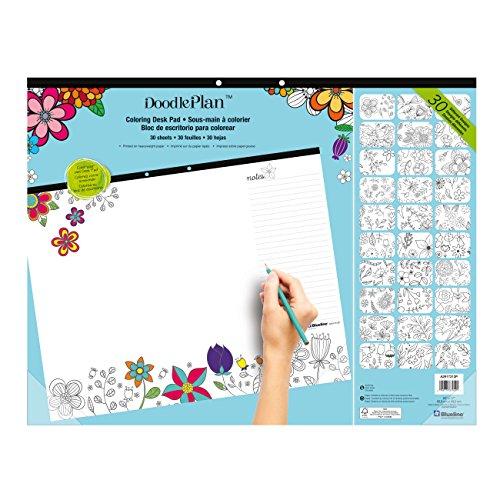 Doodle Garden - Blueline Doodle Plan Coloring Desk Pad, Garden Design, 22 x 17 (A2917313P)