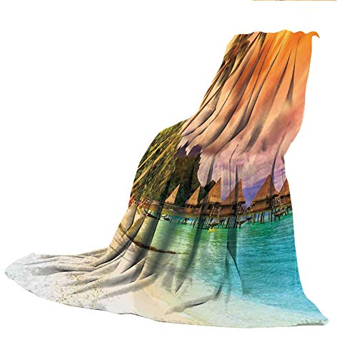 SCOCICI Creative Flannel Printed Blanket for Warm Bedroom,Beach,Mountain Beach and Palm Trees Golden Clouds at Sunset Romantic View Image,Orange Turquoise Ivory,47.25