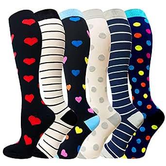 Compression Socks For Men & Women - 3/6 Pairs - Best for Running,Medical,Sports,Flight Travel, Pregnancy - 20-25mmHg (Multicoloured 10, Small/Medium)