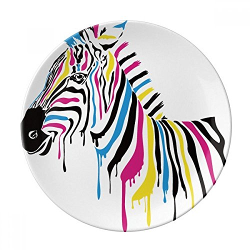 Zebra Animal Rainbow Color Dessert Plate Decorative Porcelain 8 inch Dinner Home by DIYthinker