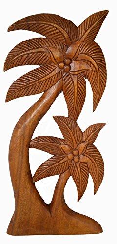 Beautiful Mahogany Wood Palm Tree with Coconuts Tropical Island Wall (Coconut Palm Wood)