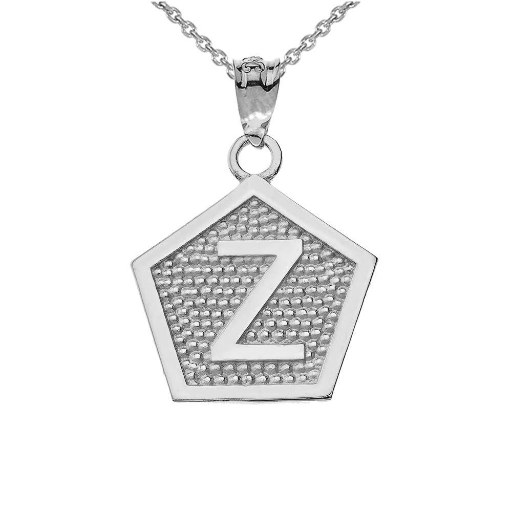 LA BLINGZ 14K White Gold Letter Z Initial Pentagon Pendant Necklace