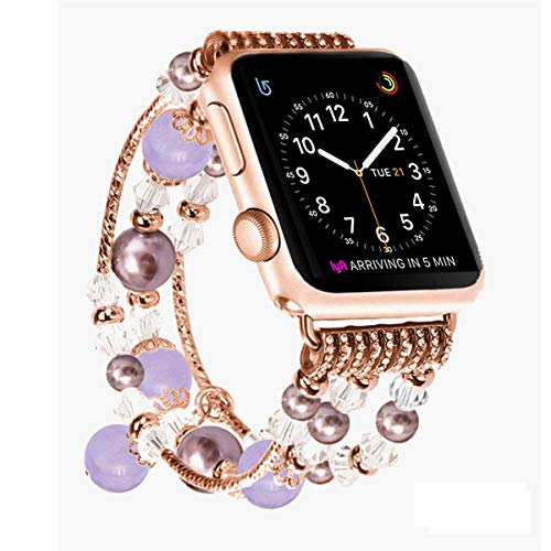 JOMOQ Compatible with Apple Watch Band, Fashion Sports Beaded Bracelet Replacement iWatch Strap Band for Women Girls, Apple Watch Series ()