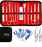 Dr. R Advanced Dissection Kit for Anatomy & Biology Lab- Pure Stainless Steel- for Students, Lab, Veterinary, Botany-11 Stainless Steel Instruments & 12 Bonus Scalpel Blades