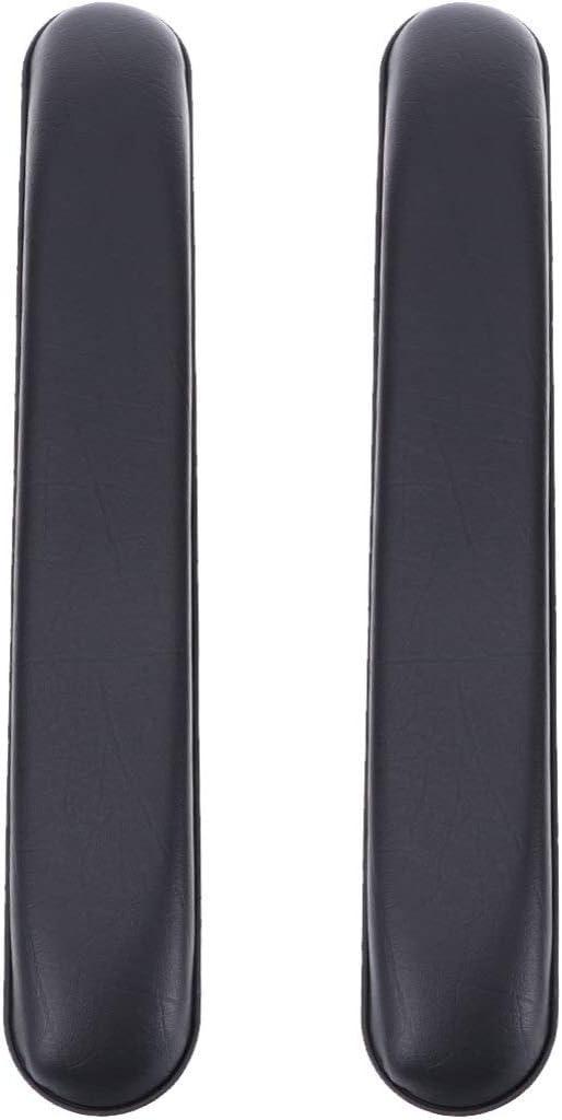 Exceart - 2 reposabrazos acolchados universales de piel de repuesto para silla de ruedas Talla 1 negro