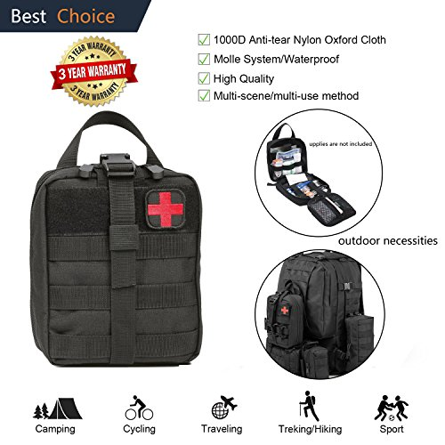 Tactical Molle Pouch Bag Attachment Accessory First Aid Kit Rip-away EMT Medical IFAK EDC Utility Pouches Bags with Buckle Strap 1000D for Outdoor Hiking Backpacking Camping Travel Treking Car Cycling