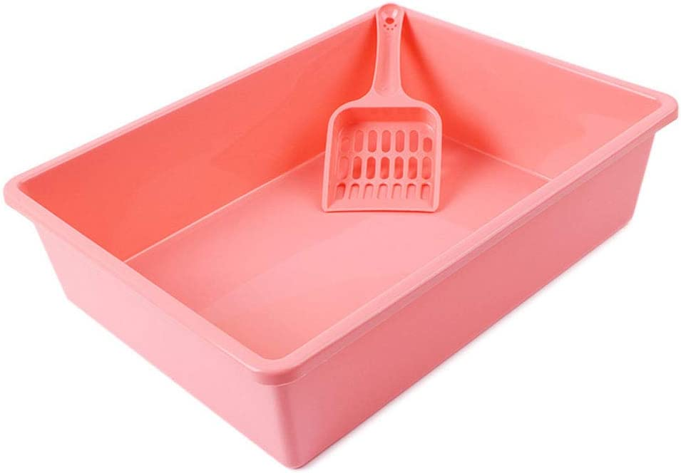 ミニ オープンキャットパン、大容量キャットリタートレイ、キャットハウス、人間工学に基づいたシャベル付き、掃除が簡単、サイズ:38 * 28.5 * 9.5cm シンプル