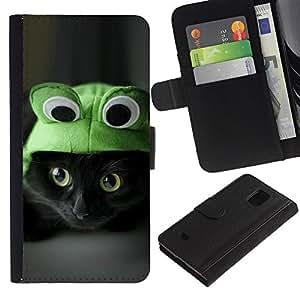 Sombrero del gato lindo Gatito Negro Ojos Pelo Corto- la tarjeta de Crédito Slots PU Funda de cuero Monedero caso cubierta de piel Para Samsung Galaxy S5 Mini (Not S5), SM-G800