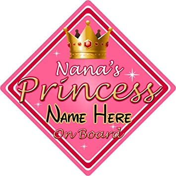 Personalised Child//Baby On Board Car Sign ~ Nanas Prince On Board ~ D.Blue