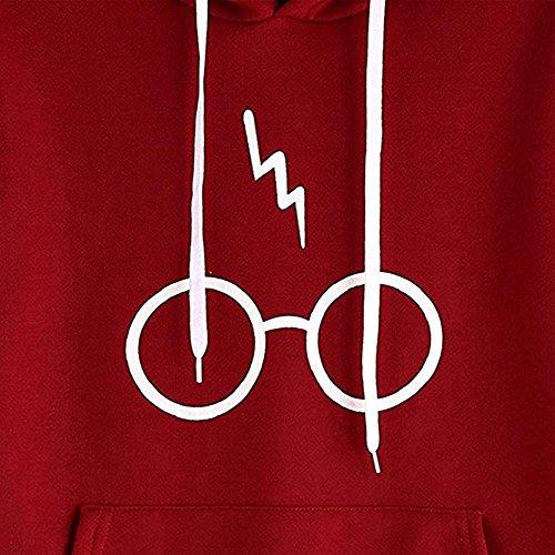 Occhiali Stampati Felpa con Cappuccio autunno pullover manica lunga giacca cappotto sportivo felpa moda felpa con cappuccio per le donne / ragazze Rosso