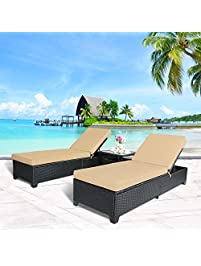 cloud mountain 3pc outdoor rattan chaise lounge chair patio pe wicker rattan furniture adjustable garden pool