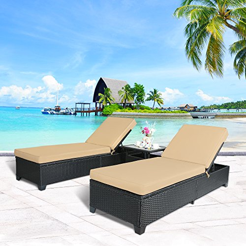 Cloud Mountain 3PC Outdoor Rattan Chaise Lounge Chair Patio PE Wicker Rattan Furniture Adjustable Garden Pool Lounge Chairs and Table, Khaki Cushions Black Rattan (Rattan Lounge)
