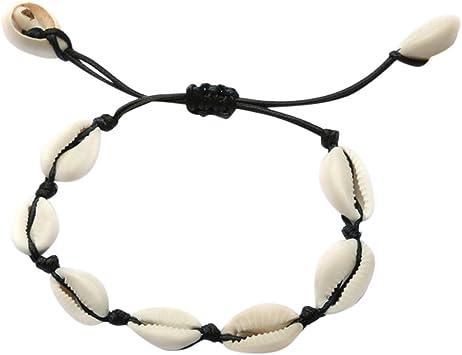 Seashell Necklace and Bracelet Set,Haluoo Bohemian Seashell Collar Necklace Boho Sea Shell Statement Necklace Hawaiian Seashell Choker Necklace and Bracelet Jewelry Set for Girls Women