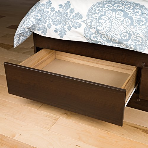 Prepac -3K Queen Sonoma Platform Storage Bed with 6 Drawers, Espresso