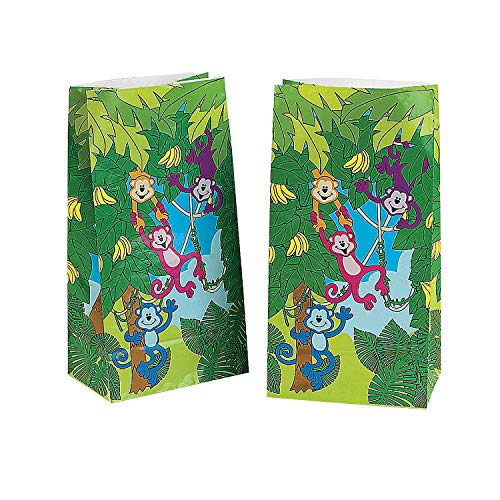 Fun Express - Neon Monkey Paper Goody Bags (12pc) for Birthday - Party Supplies - Bags - Paper Treat Bags - Birthday - 12 ()