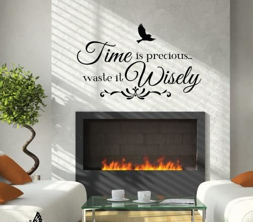(Time Is Precious Bird Wall Sticker - Pastel Mint)