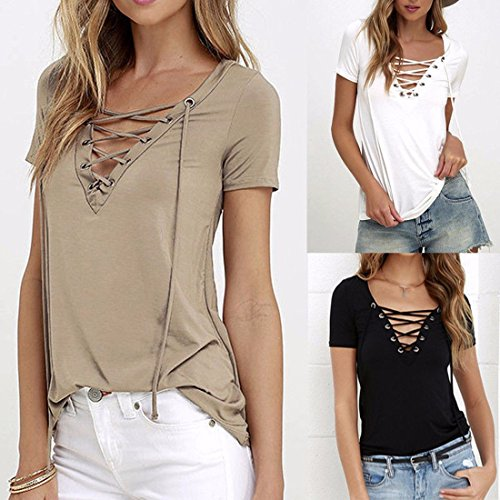 Q&Y Women's V Neck Short Sleeve Blouse Tops Casual Teen Girls Bandage Lace Up Tees Shirts Blue XXXL by Q&Y (Image #2)