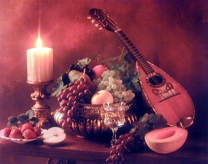 Mandolin Music Instrument & Fruits Still Life Wall Decor Art Print Poster (16x20) Dining Food