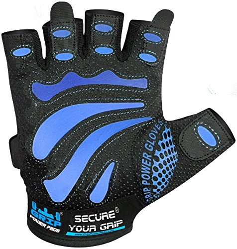 Gym Gloves Protect Your Hands & Improve Your Grip Weightlifting Grips (Blue, Medium)