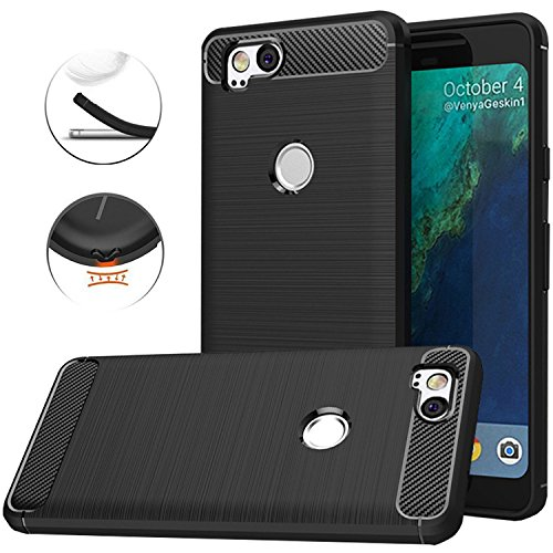 Google Pixel 2 Case,Google Pixel2 Case, Dretal Carbon Fiber Shock Resistant Brushed Texture Soft TPU Phone case Anti-Fingerprint Flexible Full-Body Protective Cover Google Pixel2 (Black)