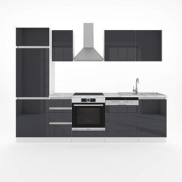 Vicco Küche 270 Cm Küchenzeile Optima Hochglanz Fronten   Frei Kombinierbar    Küchenblock Grau Einbauküche Komplettküche