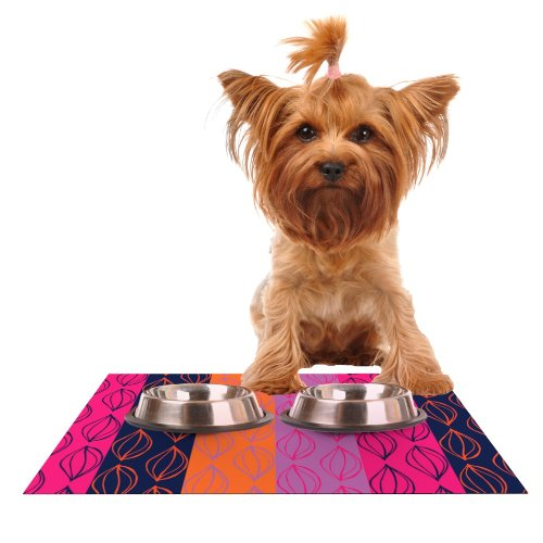 Kess InHouse Anneline Sophia Tropical Seeds  Pink orange Feeding Mat for Pet Bowl, 18 by 13
