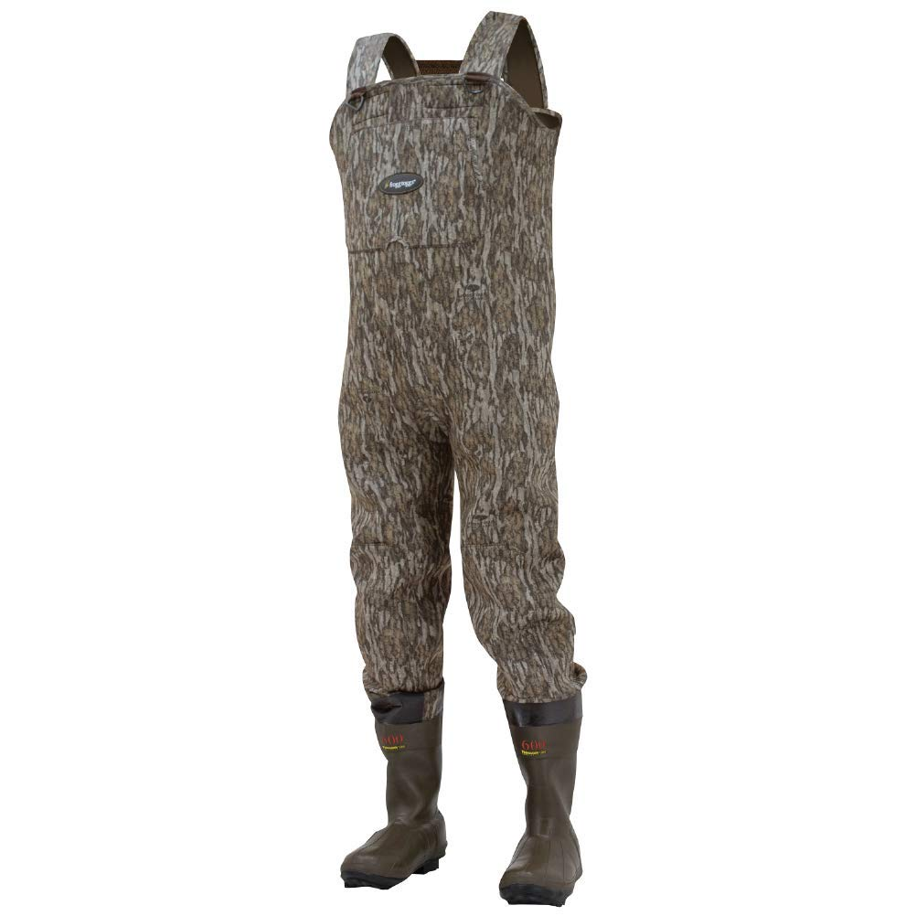 Frogg Toggs Amphib Neoprene Bootfoot Camo Chest Wader, Cleated Outsole, Mossy Oak Bottomlands, Size 7