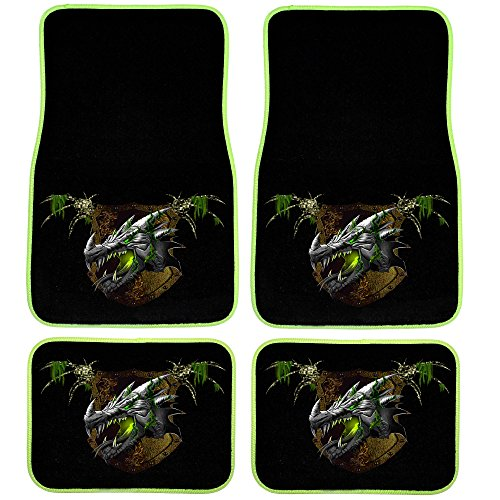 UAA 4pc Earth Dragon Green Element Universal Front & Rear Carpet Floor Mat Set (Leather Dragon Green)