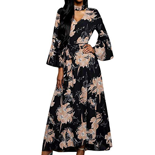(Alimao New Women Chiffon Printed Belt Elasticated Lace Puff Full Sleeve V-Neck Dress )