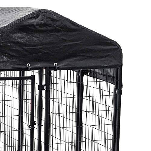 Nickannys UV Rated 85/% Block Dog Kennel Cover Sun Block Shade Top with Grommets and Cable Ties for Installation