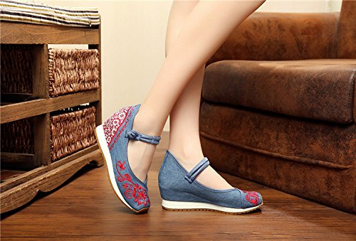 Ethic Blue Aerobic Mary Jane Shoes Canvas Embroideried Wedges Flattie Casual Flats Women P5ZBwx6qB