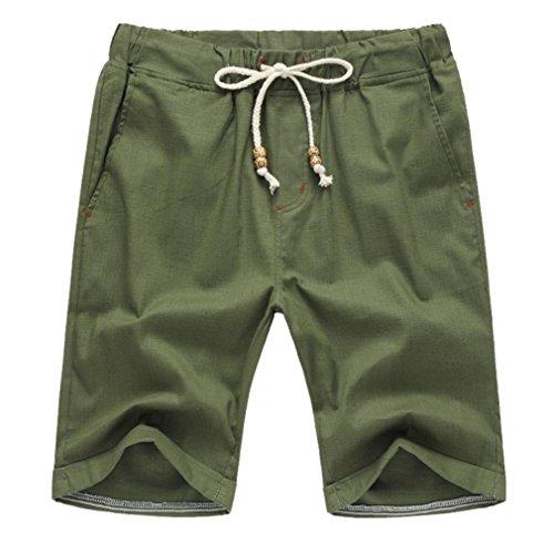iZHH Men Summer Linen Cotton Solid Beach Elastic Waist Classic Fit Shorts(Green,35)