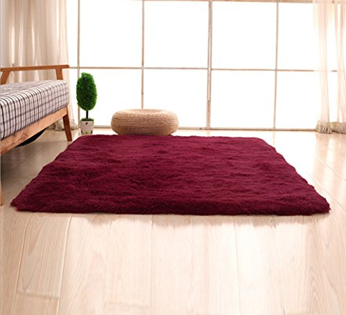 Bnxbb Ultra Soft 4Cm Thick Indoor Fluffy Thick Indoor Area Rug for Home Decor Living Room Bedroom Kitchen Dormitory Rectangle,Size:24 x 47 Inch (60Cm X 120Cm) Wine -