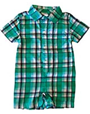 Baby Boys' Short Sleeve Plaid One Piece Romper 0-3 Months