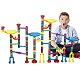 Oumoda Marble Run Toy, 122 Pcs Marble Game Learning Toy, Educational Construction Building Blocks Toy, Marble Run Sets Gift for Kids Age 4 5 6 7 + Years Old Boys Girls