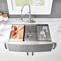 Farmhouse Kitchen 33 Stainless Farmhouse Sink – VASOYO 33×22 Kitchen Sink Apron Front Ledge Workstation Single Bowl 16 Gauge Stainless… farmhouse kitchen sinks