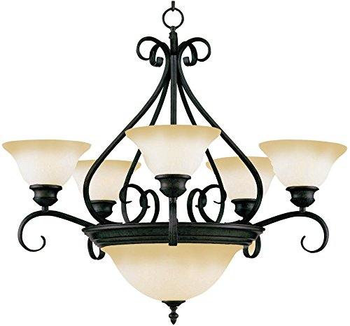 Maxim 2656WSKB Pacific 7-Light Chandelier, Kentucky Bronze Finish, Wilshire Glass, MB Incandescent Incandescent Bulb , 60W Max., Dry Safety Rating, Standard Dimmable, Opal Glass Shade Material, Rated Lumens