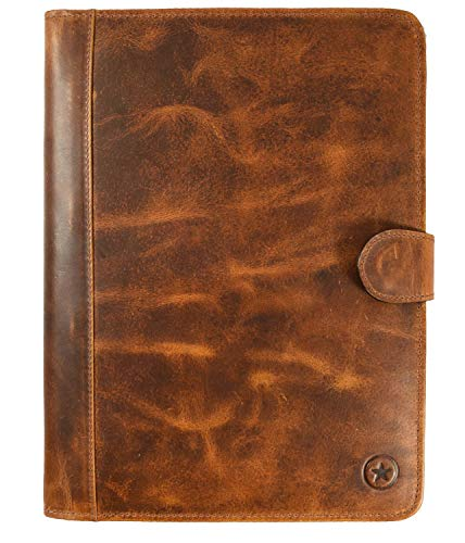 Leather Travel Portfolio | Professional Organizer Men & Women | Tablet Holder Leather Padfolio with Sleeves for documents and Ipad by Aaron Leather (Magnetic Closure, Cinnamon)