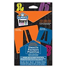 Elmer's E3062MQ Board Mate Reusable Plastic Stencils, 2-Inch and 1-Inch, 90-Letter, Numbers and Shapes