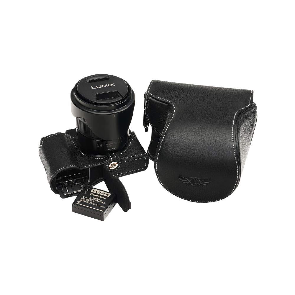 TP Panasonic パナソニック GX7MK3 gx7 mk3 本革レンズカバー付カメラケース バッテリー交換可能タイプ ブラック 本革レンズカバー付カメラケース ブラック B07NRHHRK2