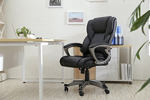 YAMASORO Ergonomic High-Back Black Executive PU Leather Office Chair, Hydraulic, Swivel.
