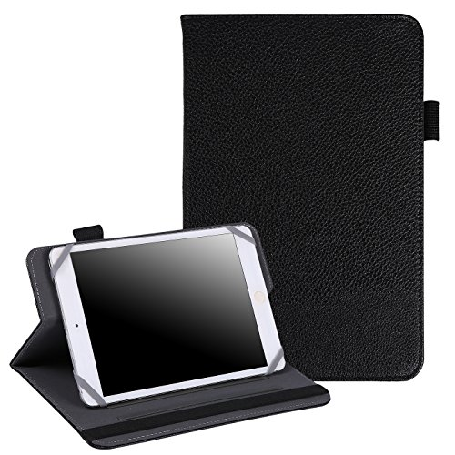 HDE 7-8 Tablet Case Universal Protective Folio Stand Cover for iPad Mini 7-8 Touchscreen Tablets (Black)