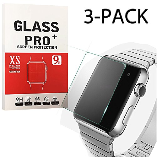 XtreMates [3-Pack] 42mm Apple iWatch Screen Protector Tempered Glass Screen Protector [Anti-bubble, Scratch Resistant]