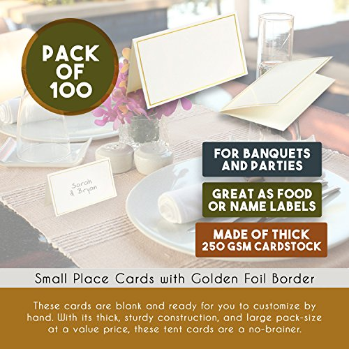Pack of 100 Place Cards - Small Tent Cards with Gold Foil Border - Perfect for Weddings, Banquets, Events, 2 x 3.5 Inches by Best Paper Greetings (Image #3)