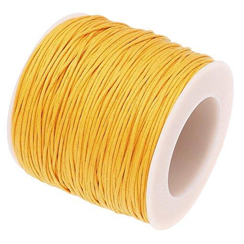 (GOLDEN YELLOW 1mm Waxed Cotton Braided Cord Wax Polished Macrame Beading Artisan String (80yards Spool))