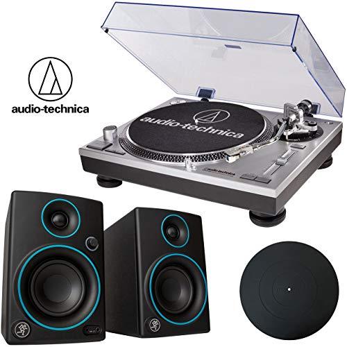 Audio-Technica ATLP120USB Direct-Drive Pro Turntable + Mackie CR3 Blue Speakers + Platter Mat