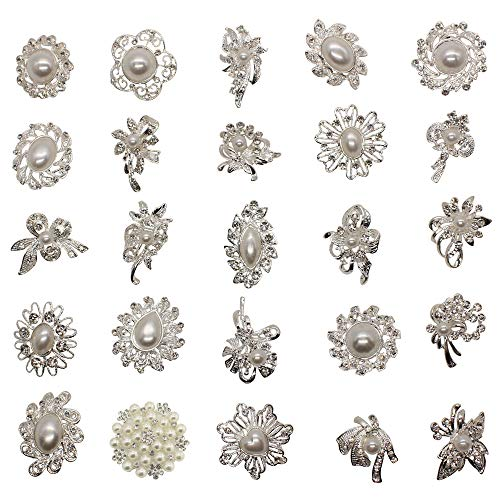 Grace Florist 25pcs Silver Crystal Rhinestone Bridal Vintage Brooches Pins Set DIY Wedding Brooch Bouquet Kit