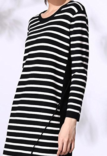 Di Colore Del Di A donne Di Nero Tagliate Nappa Vestito Coolred Periodo Partito Sera Strisce v0ZPwg1q