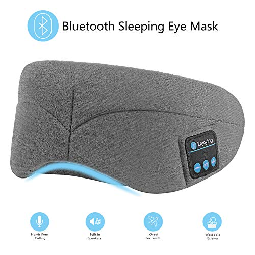 Bluetooth Sleeping Eye Mask with Wireless Headphones,ERNSTING Wireless Bluetooth Music Headset with Adjustable Built-in Speaker and Microphone Calls Washable Perfect for Travel and Sleep (Grey)